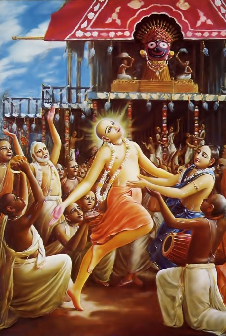 Lord Caitanya and the devotees chanted in ecstasy, tears falling from their eyes at Rathayatra Festival in Jagannatha Puri.