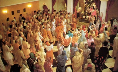 Hare Krishna Devotees assemble in Temple for daily early morning program - 1976