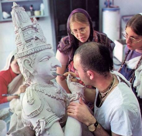 Hare Krishna Sculptor at work. 1976.
