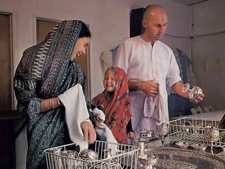 Cleaning the silverware, ISKCON Temple,1976.