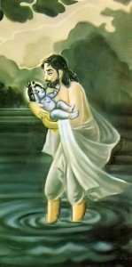 Vasudeva carries baby Krishna from Kamsa's prison in Mathura to Vrindavan on rainy night.