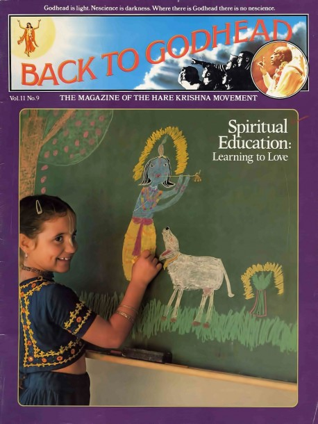 Seven-year-old Sammohini-devi dasi puts the finishing touches on a colorful blackboard portrait of Lord Krishna. Like the other students at ISKCON's primary school in Los Angeles, she studies English, history, math, and ancient India's Vedic literatures. The Vedic literatures explain how to spiritualize matter by using it in the Lord's service , and the children at ISKCON 's Gurukula are learning the art.