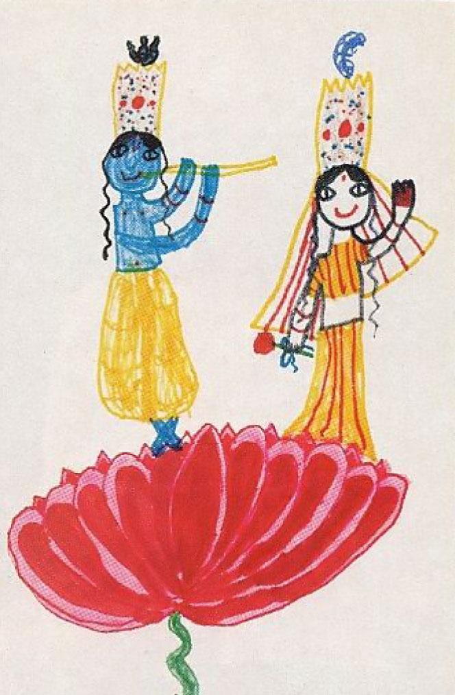 colorful crayon drawing of Lord Krishna and His beloved Radharani ...