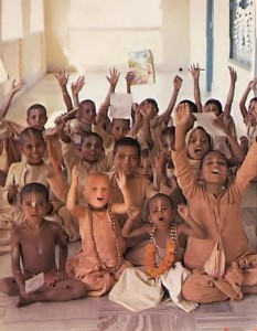 ISKCON Gurukula students in Mayapura, India. 1976.