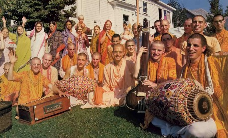 Devotees outside the Portland center of the International Society for Krishna Consciousness. 1976.