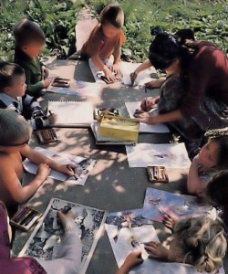 ISKCON Gurukula Students studying outside. 1976.