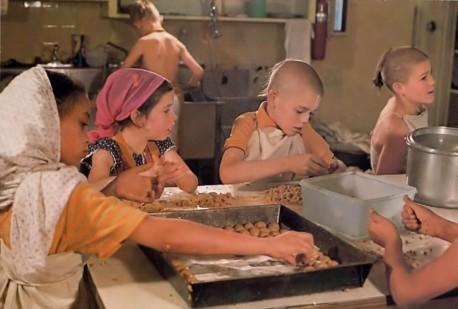 ISKCON Gurukul Students at New Dwarka Los Angeles Make Sweets for Krishna in the Temple Kitchen. 1976.