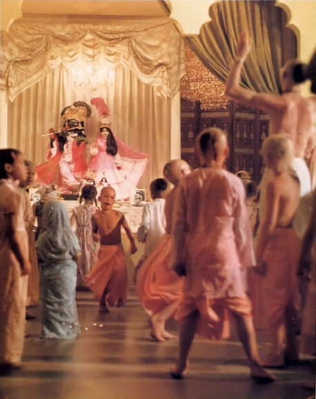 ISKCON Gurukula Students dance during Mangal Aroti in the Temple at 4:30 AM every morning. 1976.