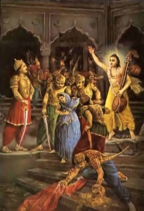 The demigods plunder Hiranyakasipu's palace and arrest his queen, Kayadhu.