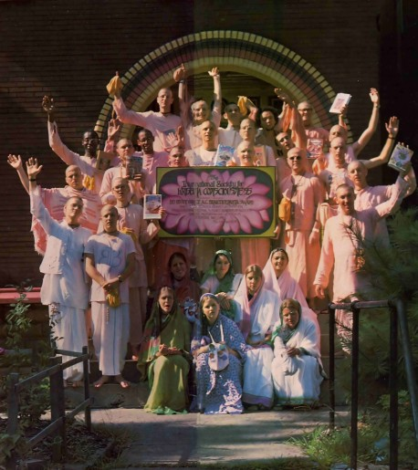Devotees outside the St. Louis center of the International Society for Krishna Consciousness. 1976.