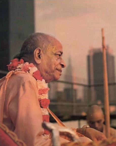 Atop New York's Hare Krishna Building, Srila Prabhupada talks with some of his disciples. Summer Tour 1976.