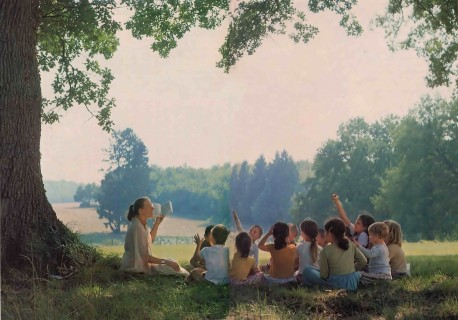 When the weather's warm, Jyotirmayl takes school out into nature. New Mayapur, France 1976.