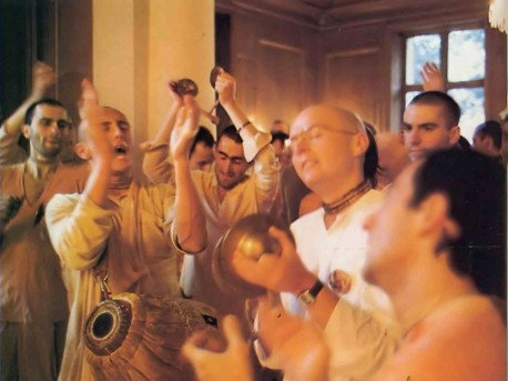 The New Mayapur devotees find chanting the Hare Krishna mantra especially enlightening. 1976.