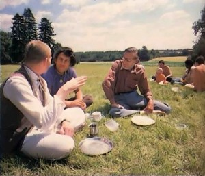 Sunday Feast at New Mayapur, ISKCON's Farm in France. 1976.