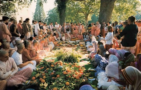 Fire Sacrifice at ISKCON's Farm in France, New Mayapur, 1976.