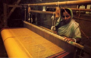 Indian Village Lady Making Sari on Hand-Loom, 1977.