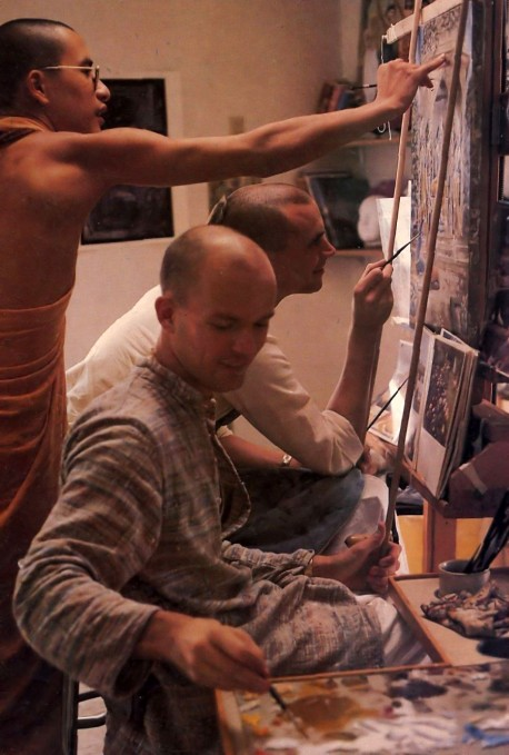 ISKCON Artists working on painting - 1977
