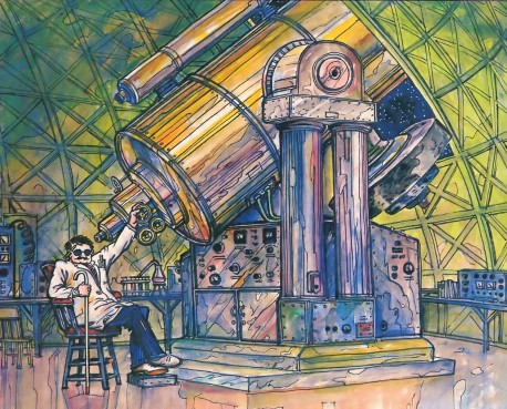 Blind Scientist Looking through a big telescope