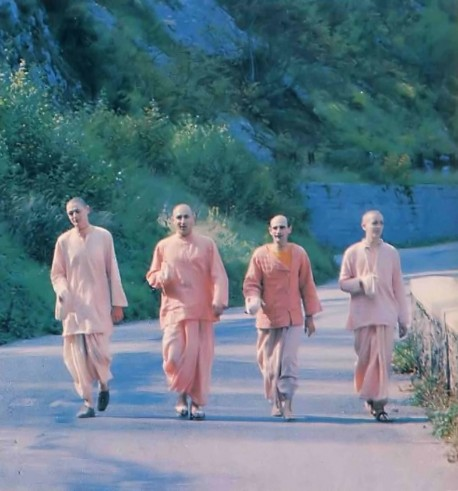 Chanting the Hare Krishna maha-mantra gives us strength for our life on the devotional road. France - 1977