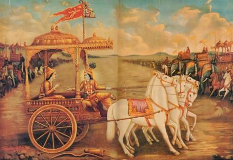 Krishna speaks Bhagavad Gita to Arjuna on the Battlefield of Kuruksettra