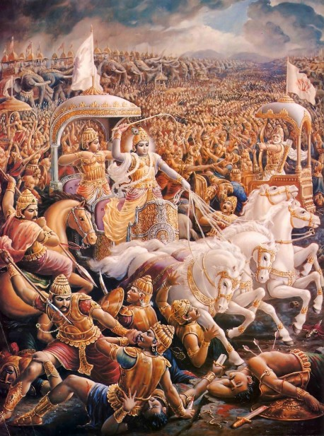 Krishna and Arjuna Fighting in the Battle of Kuruksettra from Bhagavad Gita.