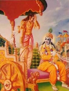 Arjuna is bewildered as Krishna Speaks Bhagavad Gita on the Battlefield of Kuruksettra