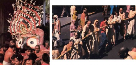 Lord Jagannatha's attendants in Puri escort Him to His waiting chariot - 1977