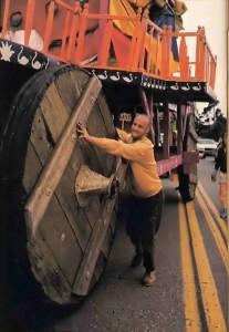 Jayananda readies Lord Jagannatha's chariot for the trip through Golden Gate Park. - 1977
