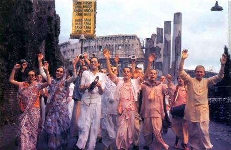 Devotees chant Hare Krishna in Rome. - 1977