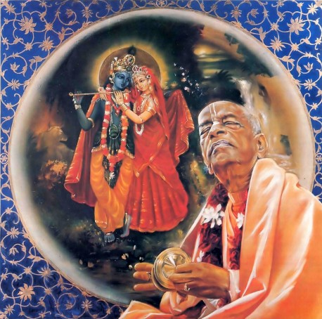 Beautiful painting of Srila Prabhupada playing kartals with Radha and Krishna in the background.