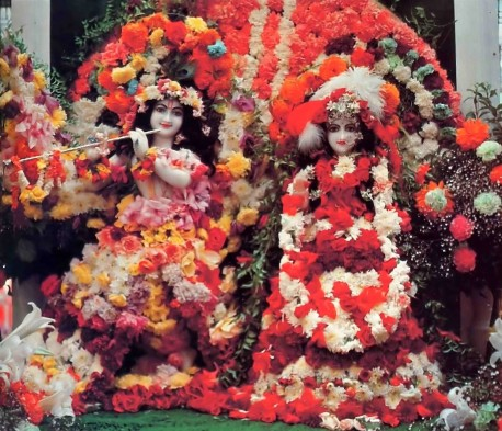 Radha Krishna Deities (Sri Sri Radha Gokulananda) at ISKCON's Bhaktivedanta Manor, Lechmore Heath, Watford, England. 1977.