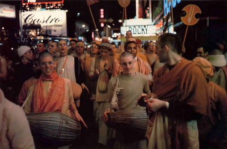Devotees chant Hare Krishna in Times Square - 1977