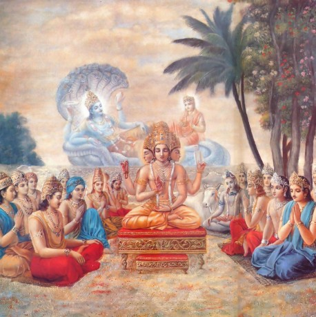 Lord Brahma and the other demigods at the at the shore of the milk ocean praying for Lord Visnu (Krishna) to come to earth.