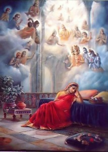 The demigods offered songs and prayers for Krishna in Devaki's womb.