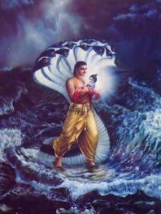 Ananta's hoods shielded Vasudeva and Kamsa, and the River Yamuna allowed Vasudeva to cross.