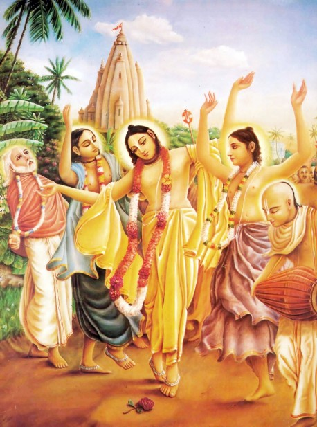 Lord Caitanya (wearing yellow) is the incarnation of Lord Krishna who appeared in Bengal, India, to spread Sankirtana-the congregational chanting of the Hare Krishna maha-mantra.