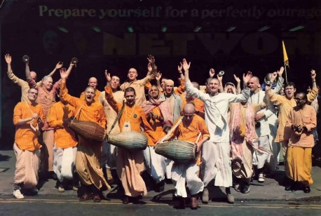 ISKCON Devotees Chant Hare Krishna on the Street - 1977