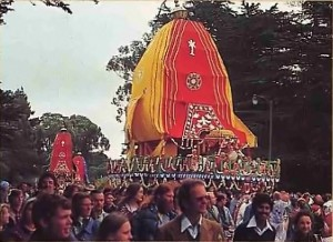 Cheering the Lord's chariot on--at San Francisco's Golden Gate Park Rathayatra Festival - 1977