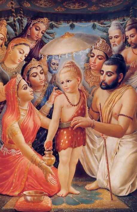 After appearing in His four-armed form, Lord Vamana assumed the form of a brahmana boy, like a theatrical actor: