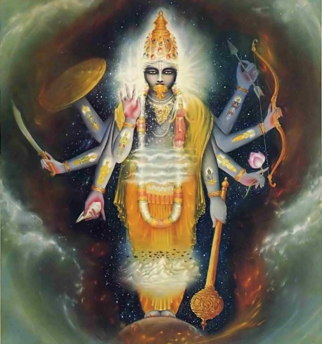 Lord Vamana grew - until everything in the universe was within His body.