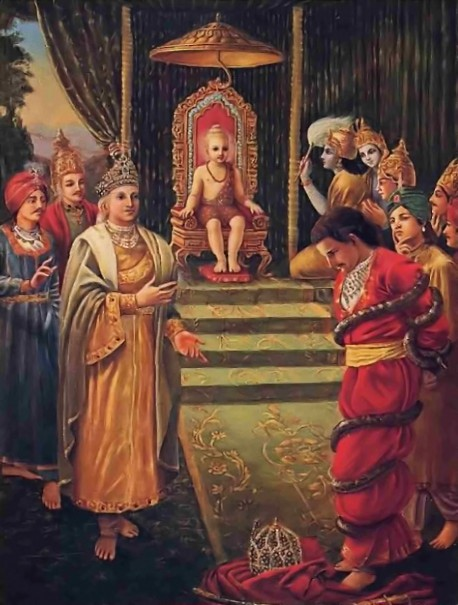 """Vamana told Bali, """"With two steps I have taken all this. Where shall I place My third step?"""""""