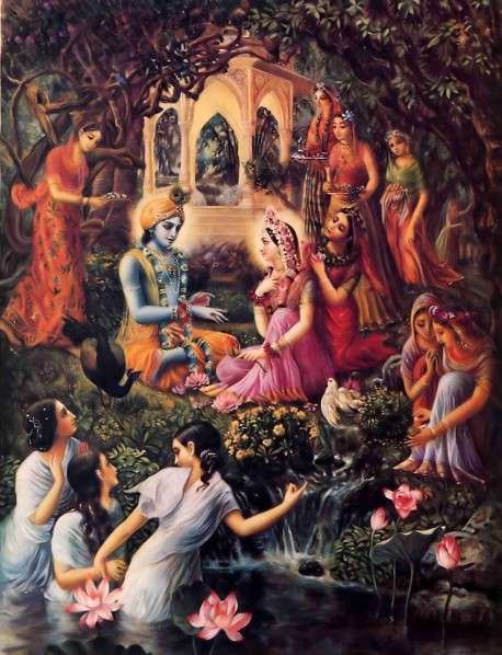 Radha and Krishna and the Gopis in Vrindavan