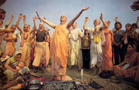 Devotees chant Hare Krishna at ISKCON's New Vrindavan farm community in West Virginia. - 1977