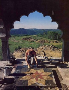 Rsikumara dasa checks a piece of marble cut for the portico of Srila Prabhupada's Palace. - 1977