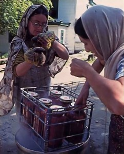 Canning tomatoes at New Vrindavan Farm Community - 1977