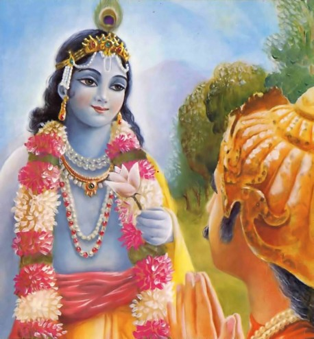 "Krishna accepted Indra's apology and said, ""My dear Indra, please return to your kingdom, but always remember this: no one is superior to Me."""