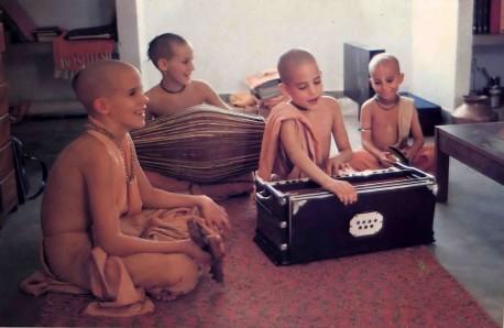 Students chant Hare Krishna at the Krishna conscious gurukula academy in Vrindavan, India.1977.