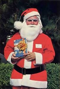Jagat Sakha dasa (dressed as santa) book distributor, Los Angeles: