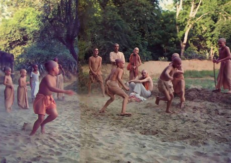 The gurukula boys like playing transcendental tag--as long as you keep chanting Hare Krishna, nobody can touch you.