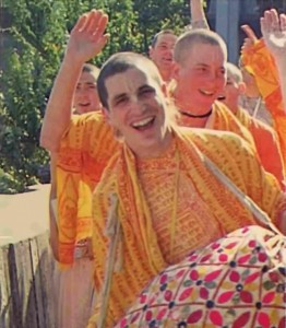 In Portland, Oregon, Dina-bandhu dasa chants Hare Krishna. 1977.